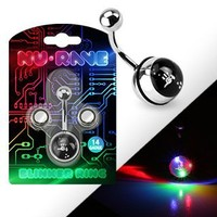 """Body Accentz™ Belly Button Ring 316L Surgical Steel NuRave Blinker Navel Ring Package with Batteries 14 Gauge 3-color Blinking light. Includes Total of 2 Batteries. (Requires 2 to operate 10mm ball 3/8"""""""