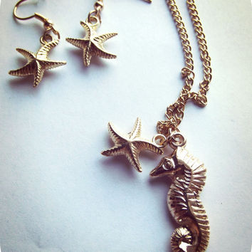 Seahorse/ Starfish Necklace & Earrings Set- Nautical - Gold or Silver