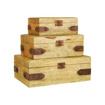 Telluride Set of 3 Boxes Mango Wood,Montana Rustic
