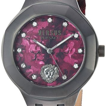 Versus by Versace Men's 'LAGUNA CITY' Quartz Stainless Steel and Leather Casual Watch, Color:Red (Model: VSP350117)