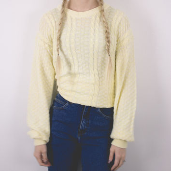 Vintage 70s Banana Cable Knit Sweater