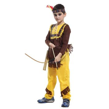 MOONIGHT 4 Pcs Child Boys Native American Indian Cosplay Costume Soldiers Warrior Fancy Dress Birthday Party Halloween Costume