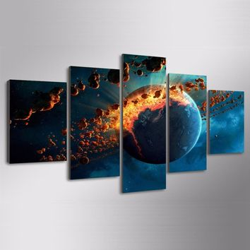 Earth Universe Explosion Spark Wall Art Pictures 5 Panel Wall Picture Print Home