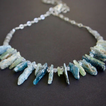 Rustic Blue and Green Kyanite Spike Necklace with Herkimer Type Diamond Quartz Crystals Jagged Edgy Raw Stone Jewelry