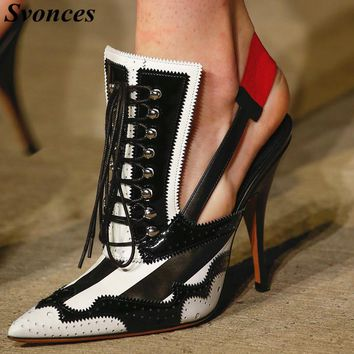 Runway Fashion Heels Sapatos Mulher Svonces Luxury Brand Shoes Women Autumn Dress Shoes Lace Up Pointy Slingback Sexy Lady Pumps