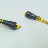 Paper Earring - Quilled cone Jhumka Black colour