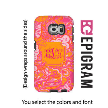 Monogram Samsung Galaxy S6 Edge case, pink and orange boho Galaxy S6 case, Galaxy S5 case, 3D wrap Galaxy case, Galaxy tough case
