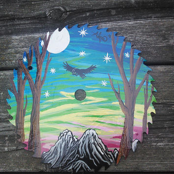 Painted saw Blade,Sunset Painting, Full Moon Painting,Raven Crow Bird Art,Moon and Stars, Wiccan Artwork, Pagan Art, Rustic Cabin Artwork