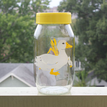 Vintage Carlton Glass 2 Liter Duck Canister with Yellow Lid - Kitchen storage, glass jars, yellow kitchen, cookie jar