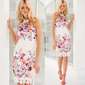 White Sleeveless Flower Print Gowns