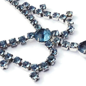 Pale Blue Rhinestone Necklace,Faux Sapphire Diamanté Choker,Sparkly Jewelry,September Birthday,Blue Birthstone, Something Blue,Bride Jewelry