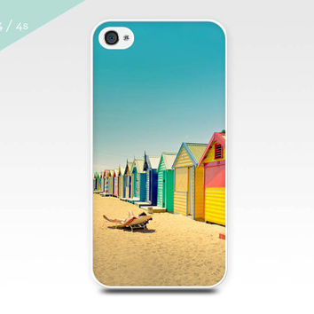 iphone 4 case 4s 5 beach houses photography colorful nautical photo art iphone case cover cell phone case coastal photograph iphone 4 5 case