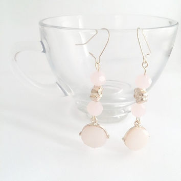 Pink crystal earrings, Pink earrings, Blush pink, Wedding earrings, Bridal earrings, Pink and Gold, Flower earrings, Prom earrings