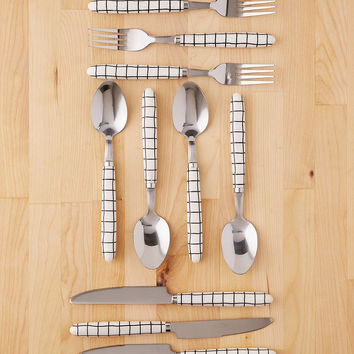 12-Piece Wonky Grid Flatware Set | Urban Outfitters