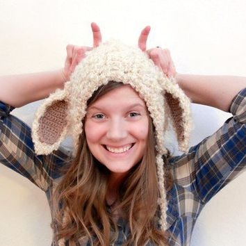 Lamb Bonnet PDF Crochet Pattern Newborn to Adult Size by Mamachee