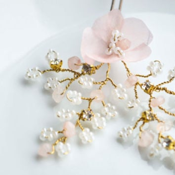 Cherry Blossom Hair PIn. Hair flowers. Bridal Hair vine. Evening hair Accessories. Bridal Hair vines. Bobby pin. Flower Girl