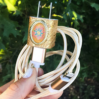 6FT Gold Orange Flower iphone 5 6 7 Charger