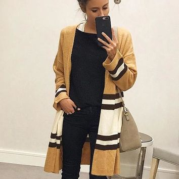 Yellow Color Block Fashion Cardigan Sweater