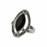 Cut-Out Stone Ring - Black