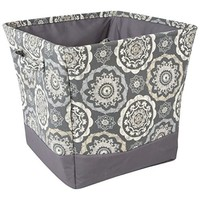 Canvas Storage Bin with Handles & Inner Pockets (Grey)