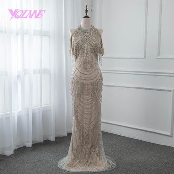 YQLNNE Gorgeous Rhinestones Evening Dress 2018 Long Mermaid Slit Back Prom Gown Vestido De Festa