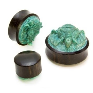 Carved Turquoise GANESHA Body Jewelry Plugs