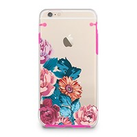 "Vintage Flower Rose, Floral Clear Bumper Hard Cover Case for iPhone 6s / iPhone 6 (4.7"") (Pink)"