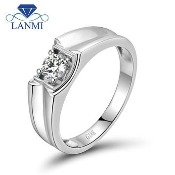 Cool Men's Wedding Band Diamond Rings Solid 18K White Gold Fine Jewelry for Husband Gift WU0116