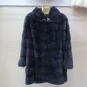 Real Mink Fur Women Long Coat with Hood  Winter Long Slim Warm Plus Size  Female Mink Fur Jacket