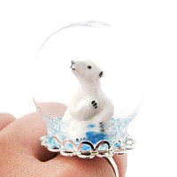 Porcelain Polar Bear Glass Snow Globe Bubble Ball Adjustable Ring | Animal Jewelry
