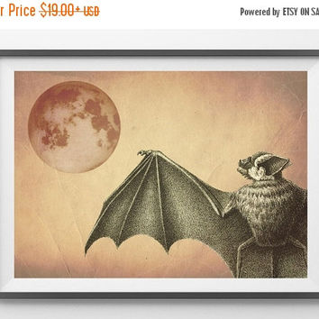 SALE 15% OFF Halloween Print Poster Bat  at night Mixed Media Digital Collage Altered Antique Image