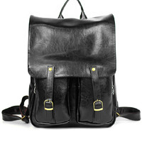 Vintage Inspired Black Fashion Backpack