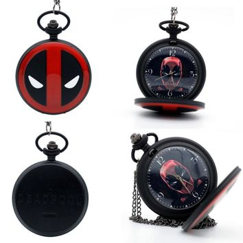 Deadpool Dead pool Taco Fashion Black  Animation  mask Dial Quartz Pocket Watch Analog Pendant Necklace Mens Womens Watches Gift AT_70_6