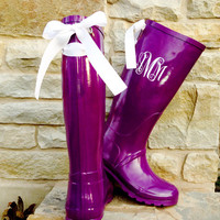 TCU Game Day Purple Rain Boots with White bows