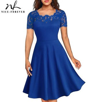 Nice-forever Vintage Elegant Floral Lace Neckline Pinup vestidos ALine Business Party Flare Women Skater Dress A119