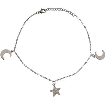 Inox 316L Steel Two Moons Crystal Star Ankle Bracelet | Body Candy Body Jewelry