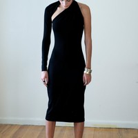Black One-Shoulder Pencil Dress