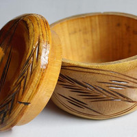 Vintage Wood Carved Bowl with Lid - Beautiful Hand Detailed Design and Light Tones