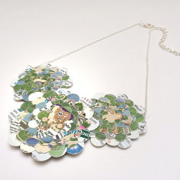 Paper bib necklace,  Disney Park map, upcycled jewelry, first anniversary gift, paper jewelry. hidden mickey, Disney jewelry