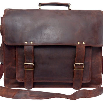 Steampunk Large Leather Messenger Bag Briefcase Brown Men Leather Satchel Travel Bag Leather Case