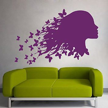 Woman Girl Hair with Butterfly Wall Decals Vinyl Sticker Decal Hairdressing Wall Decor Beauty Salon Living Room Home Interior Design Art Mural