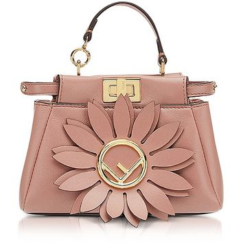 Fendi Micro Peekaboo Pink Leather Crossbody Bag w/Flower
