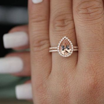 Rose Gold Bridal Ring Set, Morganite Engagement Ring, Diamond Wedding Band, Half Eternity Diamond Band, 14k Gold Ring, Promise Ring Set