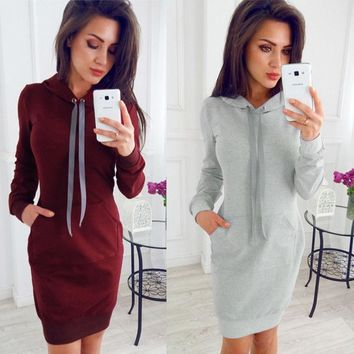 Womens Girls Fashion Winter Warm Hooded Hoodies Sweatshirt Casual Cotton Pullovers Long Sleeve Dress Gray Pink