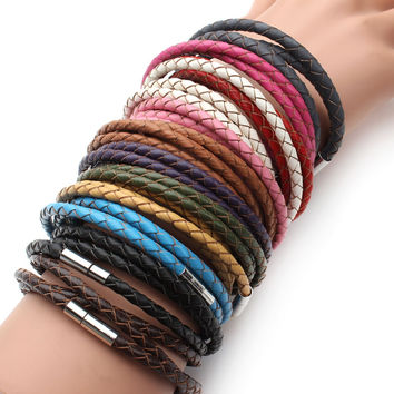 Genuine Braided leather bracelet with Magnetic Clasps Charm