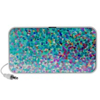 Colorful Blue Multicolored Abstract Art Music Speakers- Portable Speakers- for ipod, MP3, iphone, cell phone- Rechargable battery & USB