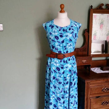 Ladies vintage dress 90s dresses festival clothing blue floral sleeveless summer clothes  large Dolly Topsy Etsy UK