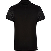 River Island MensBlack zip front quilted sleeve polo shirt