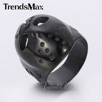 Black Tone Friday The 13th Jason Voorhees Mask Ring Mens Boys 316L Stainless Steel Ring HR316