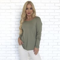 Taken Back Jersey Blouse In Olive